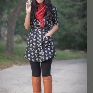 ANTHROPOLOGIE Cavorting Canines Tunic Dress {I39}